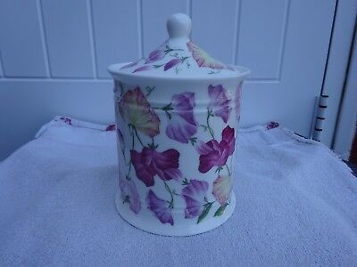 2006 Roy Kirkham Fine china jar with lid covered in Sweet pea flowers