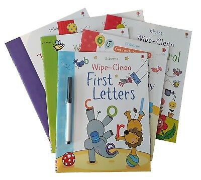 Usborne Wipe Clean 6 Book Kids Activity Numbers Words Letters With Pen New