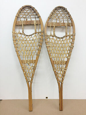 """Old Antique Vintage 11"""" X 37"""" Indian Made Snowshoes For Decor Or Arts & Craft"""