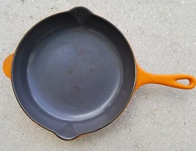 Le Creuset 23 Cast Iron Skillet Frying Pan Flame Orange Double Spout  Vintage