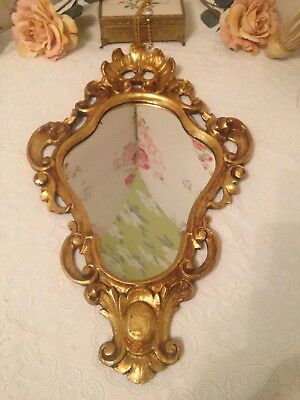 Vintage Shabby Chic Gold Gilt Wooden Ornate Italian Made Mirror