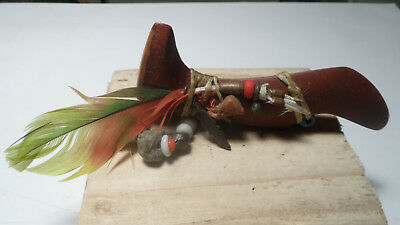 Vintage Red Pipe Stone Bird Fetish Antique stone bronze glass Beads Feather