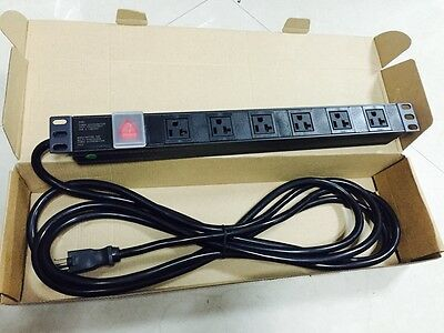 Rack-Mount 6 Outlet 125V Ac 20A Amp Pdu W/ 4.5 Meter 12 Awg Cord Ul-Approved
