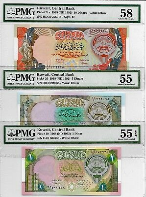 Kuwait Banknotes, (1, 5, 10 Dinars) 4th Issue 1992, AUNC, PMG 55 & 58
