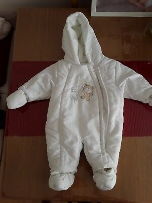 white unisex baby snowsuit from Mothercare 0-3 month