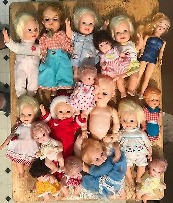 Vintage Lot of 17 Small Plastic Dolls with Clothing - Toy - Parts