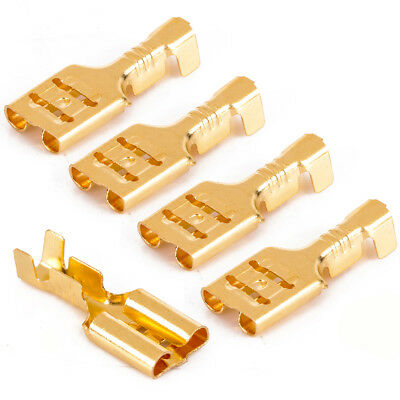 100pcs Female Non Insulated 6.3mm Spade Terminal Connector Crimp Electrical