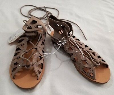 7917f76e815 New Women s Mossimo Supply Gray Nadine Gladiator Open Toe Sandals Shoes  Size 7
