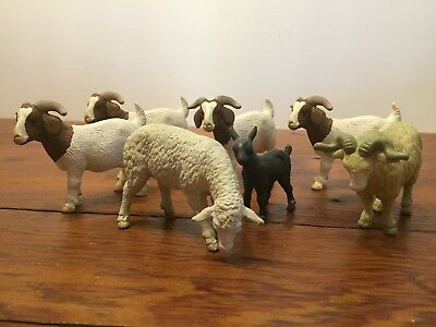 Schleich Boer goats and sheep lot plus a black kid goat