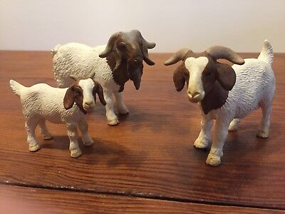 Schleich Boer Goat family Billy Nanny and kid