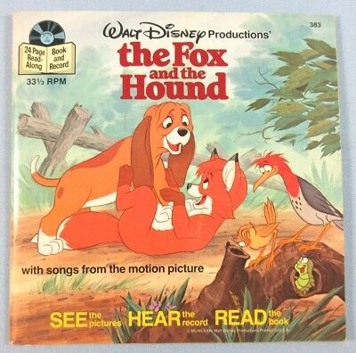 Walt Disney The Fox and The Hound See Hear Read Storybook and Record Vtg 1981
