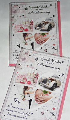 """YOUR ANNIVERSARY CARDS x 12, JUST 29p, WRAPPED, 5"""" X 7"""" HAND FINISHED (B105"""