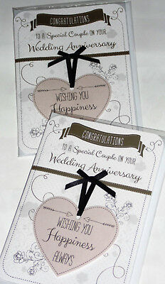 """YOUR ANNIVERSARY CARDS x 12, JUST 29p, WRAPPED, 5"""" X 7"""" HAND FINISHED (B202"""