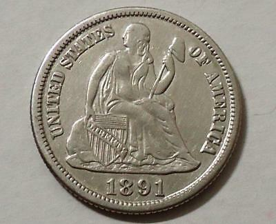 1891s SEATED LIBERTY ONE DIME, NICE QUALITY, PLEASE READ...