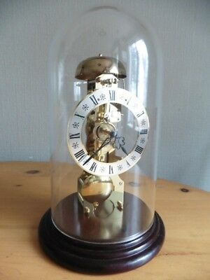 1980s GERMAN MADE HERMLE 8 DAY SKELETON CLOCK WITH PASSING BELL STRIKE AND DOME
