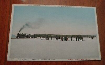 Early On The Great Salt Beds, Near Salduro,utah Western Pacific Railway Postcard