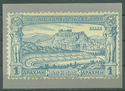 GREECE GREEK EDITION 2004 OFFICIAL CARD WITH 1 DR OF 1896 1st OLYMPIC GAMES RARE