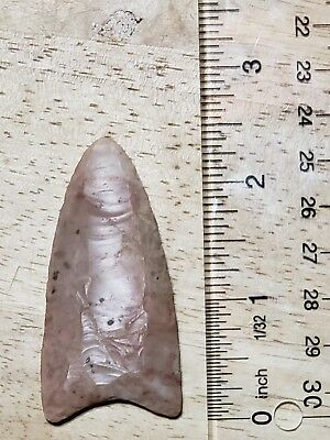 """2 1/4"""" Double Fluted Red Stone Indian Arrowhead Point"""