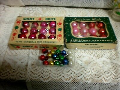 39 Small Vintage Mercury glass Ornaments  pinks & mulicolors &  2 boxes