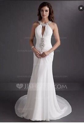 New Wedding Gown Size 16, JJs House, Halter, Ruched, White