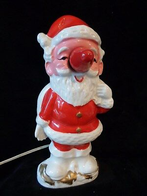 "Vintage Santa Claus Nose Light Ceramic Japan Works  7-3/4"" Tall ~ Christmas"