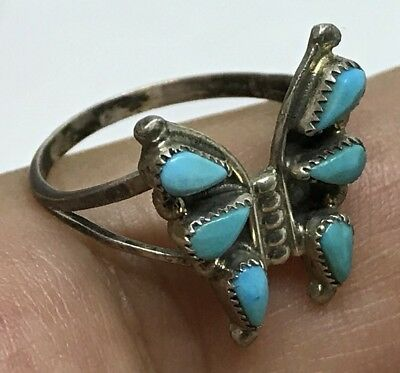 OLD ZUNI STERLING SILVER TURQUOISE PETIT POINT BUTTERFLY RING (size 7)