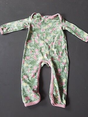 Smafolk girls green and pink toucan design romper size 68 approx 4-6 months