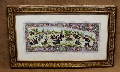 """Estate Found Vintage Signed """"Shabahang"""" Miniature Polo Painting In Khatam Frame"""