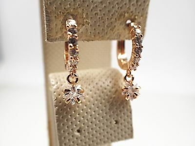 Ladies 18ct 18K Yellow Gold GF Lab Created diamond Star Dangle Drop Earrings