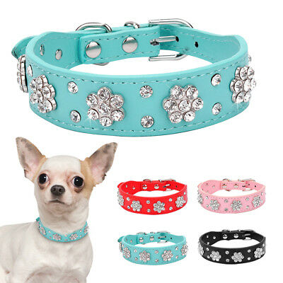 Rhinestone Flower Cat Dog Collar Crystal Bling PU Leather Necklace For Pet Puppy