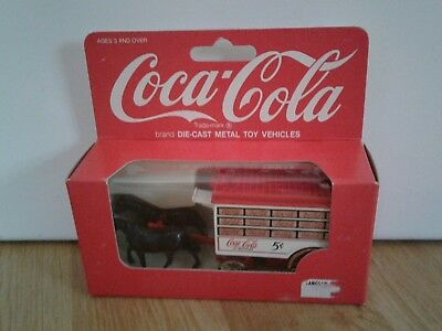 Vintage Coca Cola Die Cast Toy Vehicle by Hartoy 1979 Horse Drawn Delivery Wagon
