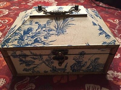 Old World Design, Blue  Vintage Style Treasure/Jewelry/Money Box, USED