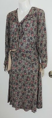 Great Vintage c 1930 Print Dress - Blue and Rose Floral
