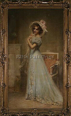 Cabane Edouard Lady In Blue Artist Painting Reproduction Handmade Oil Canvas