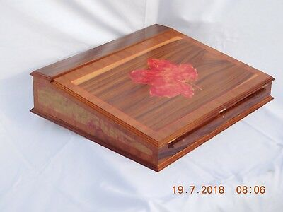 writing slope box, new hand made with a maple leaf set into the lid.