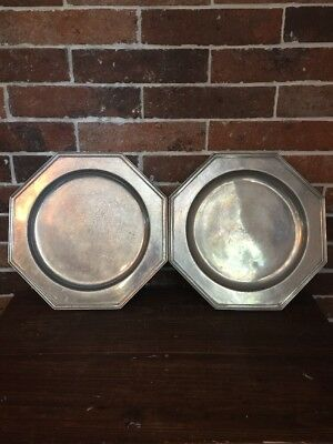 "Vtg Wilton Columbia PA, USA, RWP Pewter Octagonal Plate, 12"" Set Of 2 Plates"