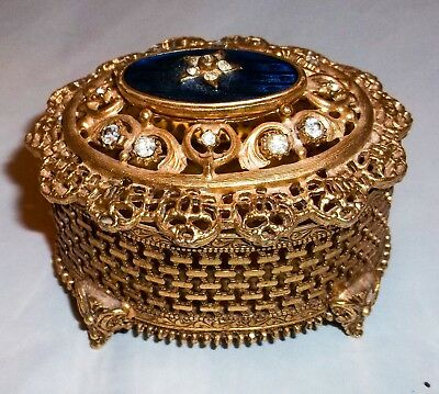 Lovely Gold Metal Filigree Trinket Box With Stones