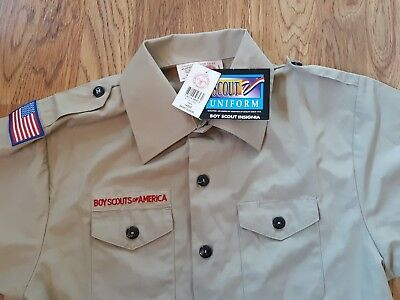 New Boy Scouts Of America Short Sleeve Poplin Uniform Shirt Youth Sz L Large NWT