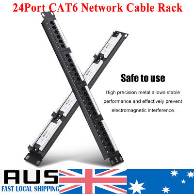 24 Port Network Patch Panel CAT6 Mountable19 Inch Networking Frame Mount