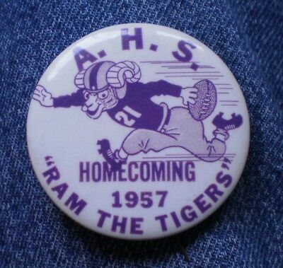 """1957 A.H.S. Ram The Tigers Football Homecoming 2 1/4"""" Celluloid Pinback Button"""