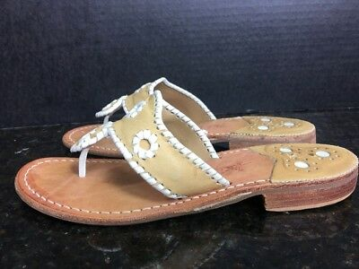83374a477 JACK ROGERS Beige   White Palm Beach Navajo Leather Thong Sandals Women s  7.5 M