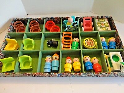 Lot of Vintage Fisher Price Little People Figures and Furniture