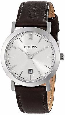 Bulova Unisex 96B217 Dress Stainless Steel Brown Leather Band Silver Dial Watch