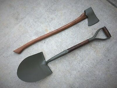 Wwii Us Army Military Vehicle Shovel & Ax / Axe - Set - Willys Jeep Mb Ford Gpw