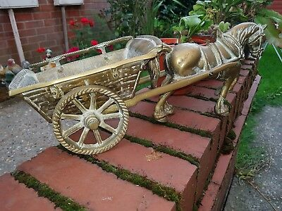 Old Antique Very heavy Solid Brass Model of Dray Horse and Cart