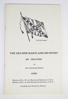 RARE 2nd Maryland Infantry Civil War Confederate Patriotic Poetry Rosters 1st MD