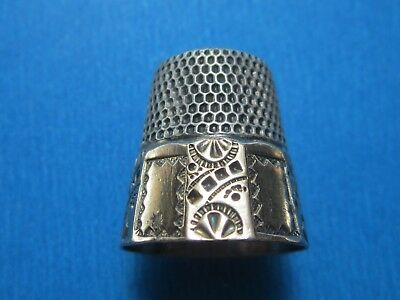 Antique Gold Band Sterling Silver Thimble by Stern Bros. * Circa 1900
