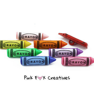 Crayons Dress It Up Novelty Craft Buttons Colouring Cardmaking Sew Hobby School