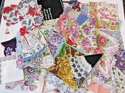 LOT of 41 Vintage Ladies Handkerchiefs Hankies Souvenir, Novelty, Floral 1950's