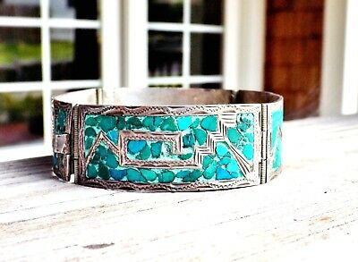 Old Taxco Mexico Turquoise Inlay Aztec Mayan Inca Tribal Hinged Panel Bracelet